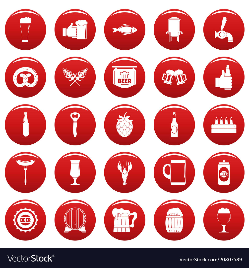Beer icons set vetor red vector image