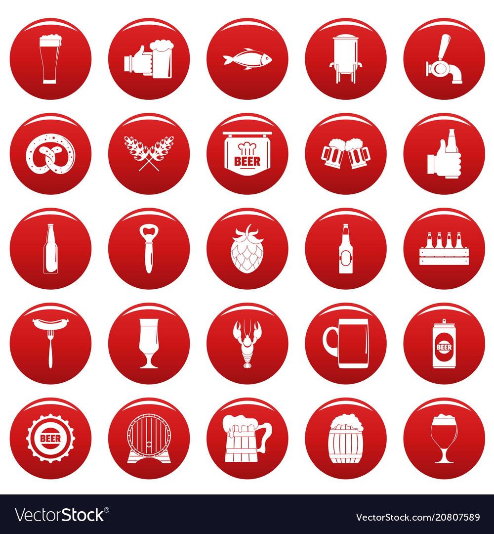Beer icons set vetor red