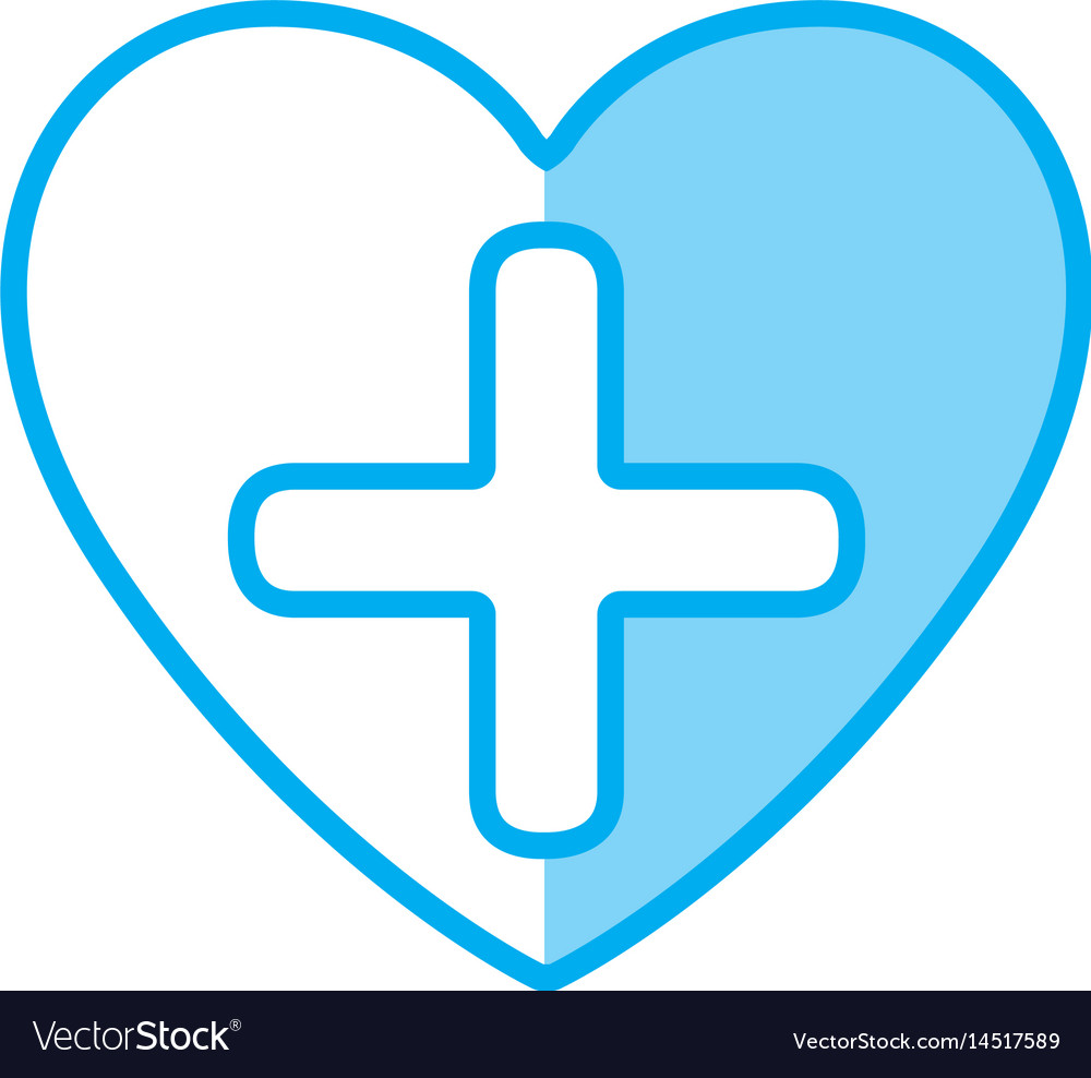 Blue shading silhouette heart health with cross