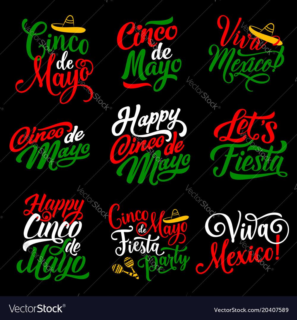 Cinco de mayo holiday calligraphy lettering design vector image