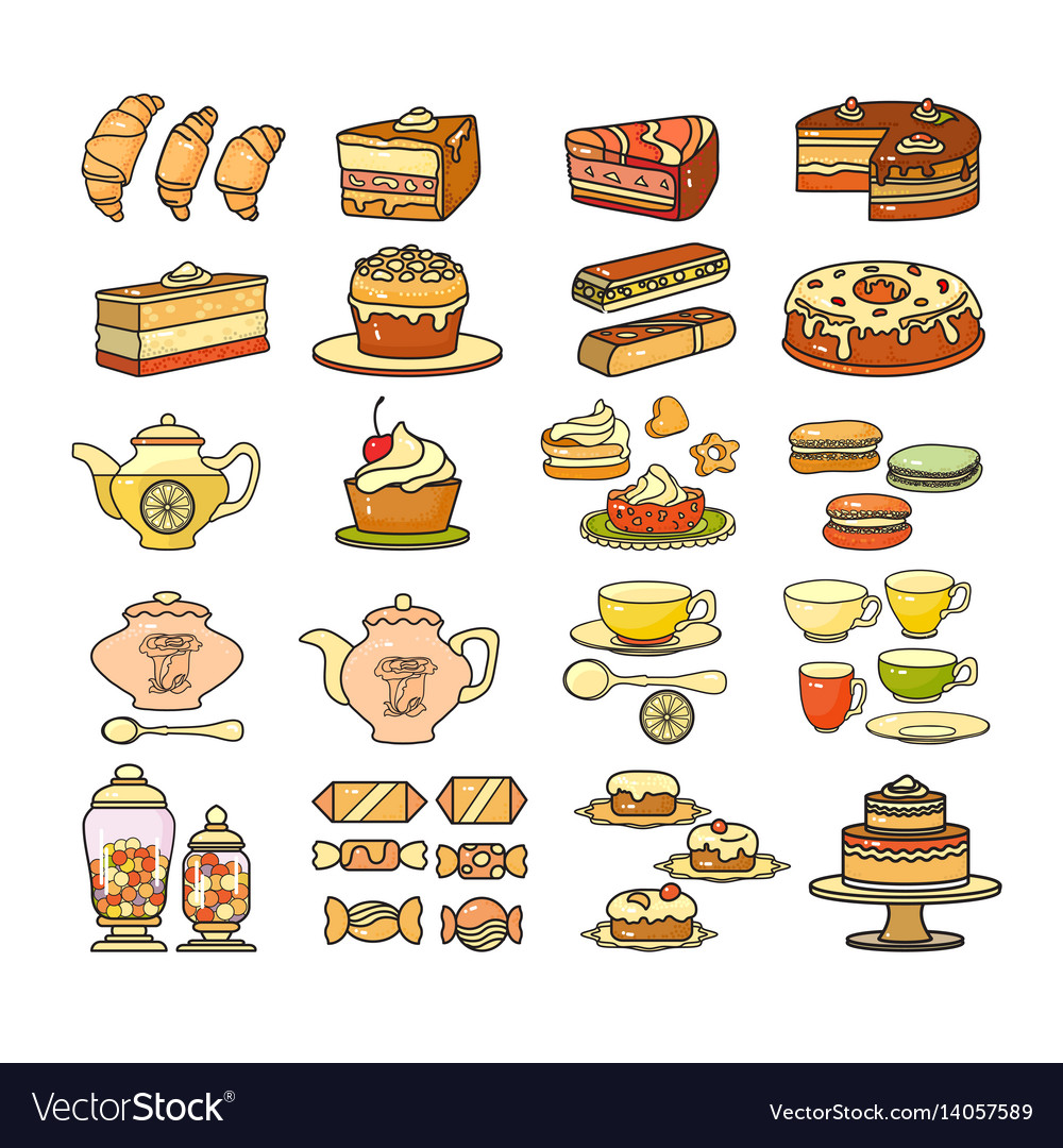 Confectionery icon set of cute various desserts vector image