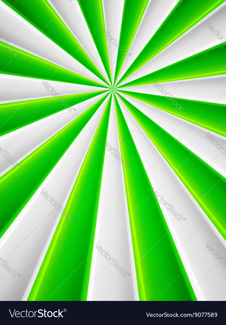 Green and white abstract rays circle poster