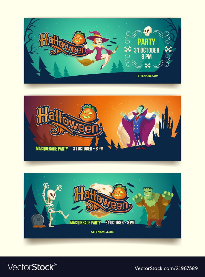 Halloween party cartoon invitation banners