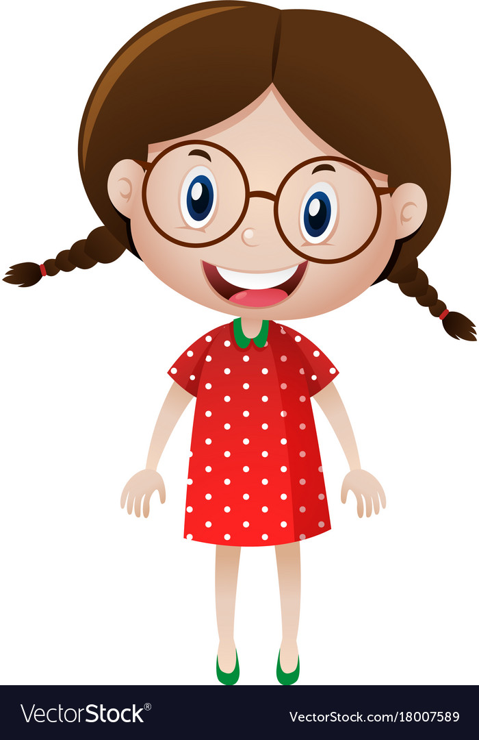 little girl wearing glasses royalty free vector image rh vectorstock com cartoon girl with glasses dancing meme cartoon character girl with glasses