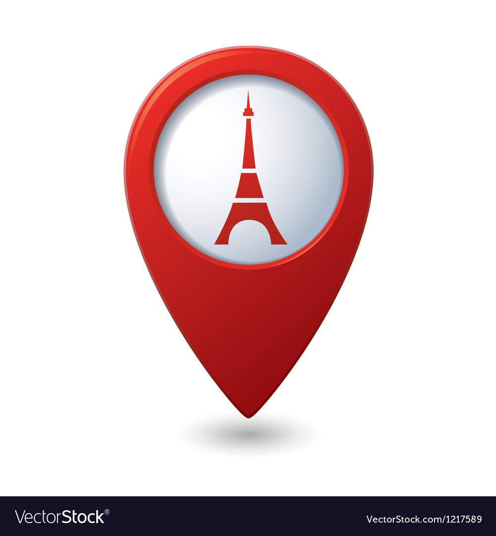 Map pointer with Eiffel tower icon vector image