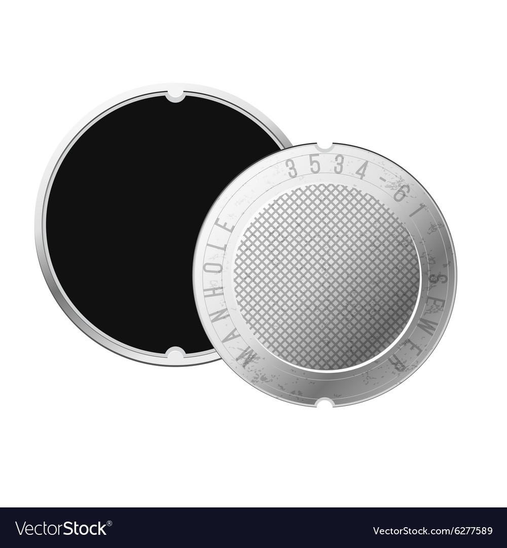 Opened street manhole Isolated on white vector image