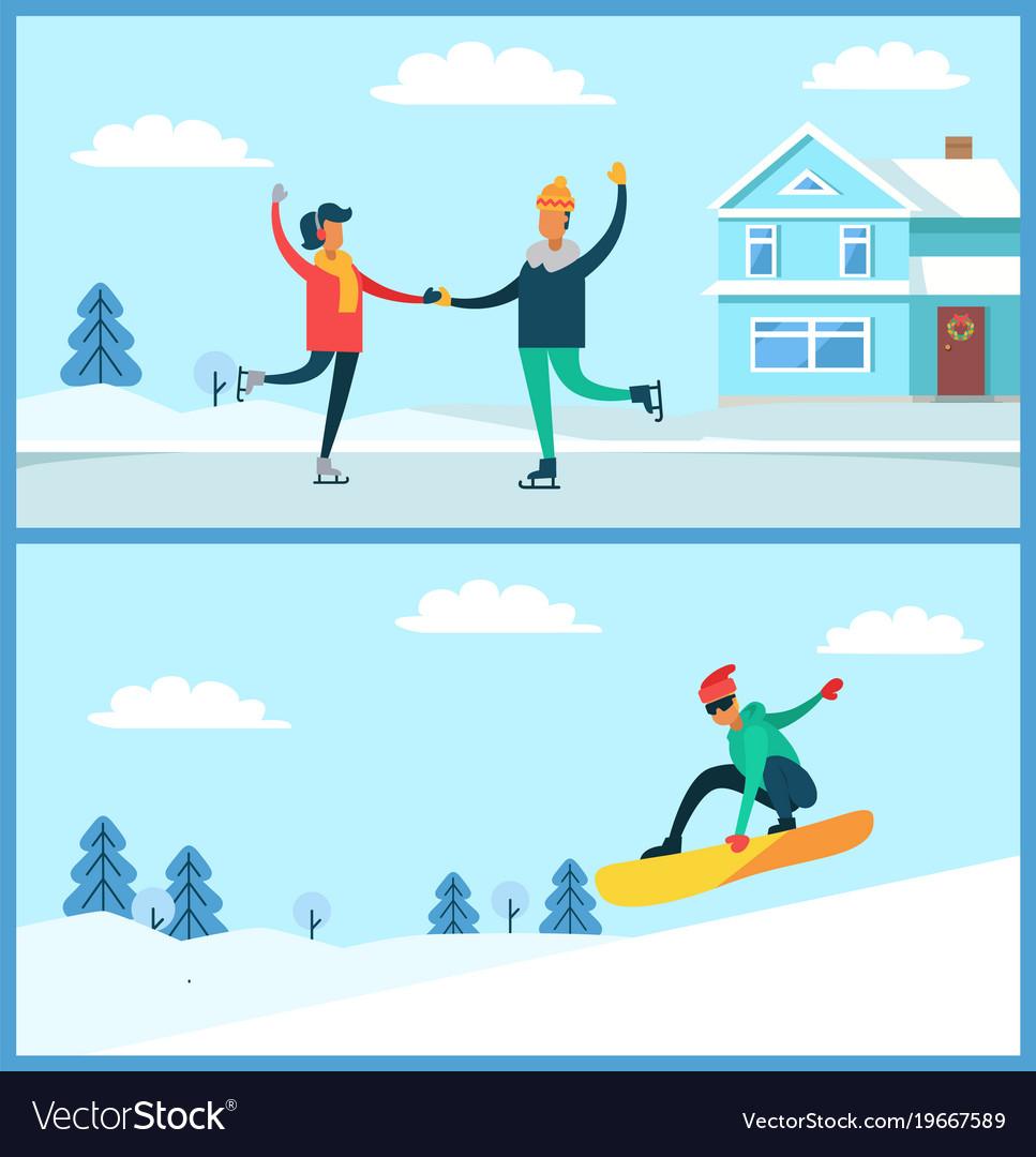 People skating snowboarding