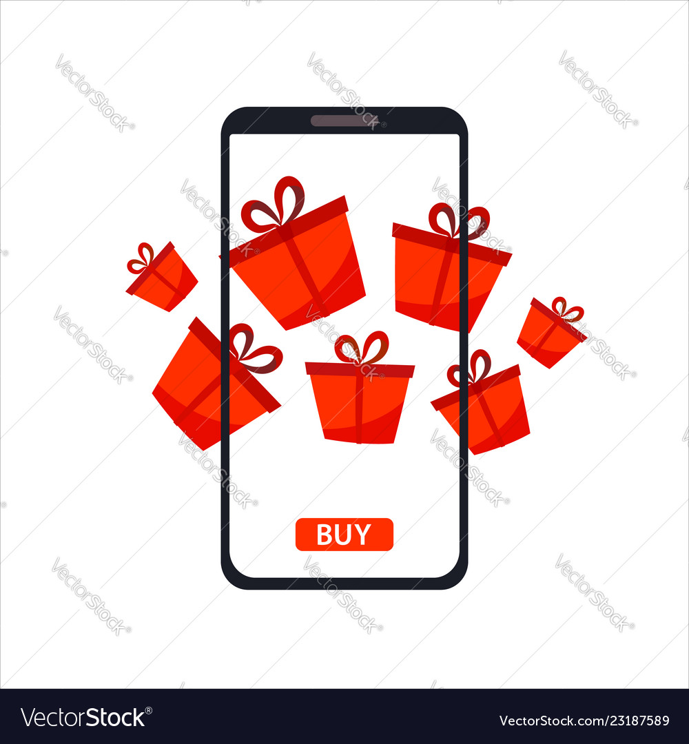 Phone gadget with red gifts presents concept of