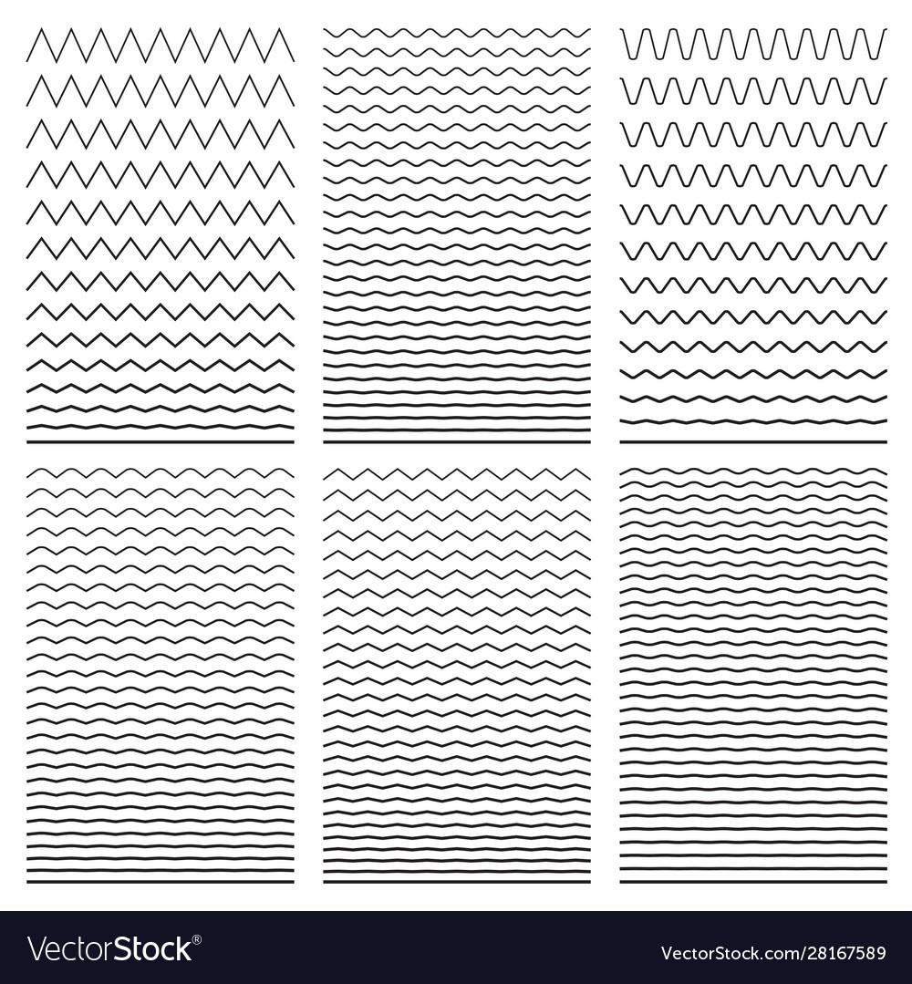 Set wavy horizontal thin and thick lines