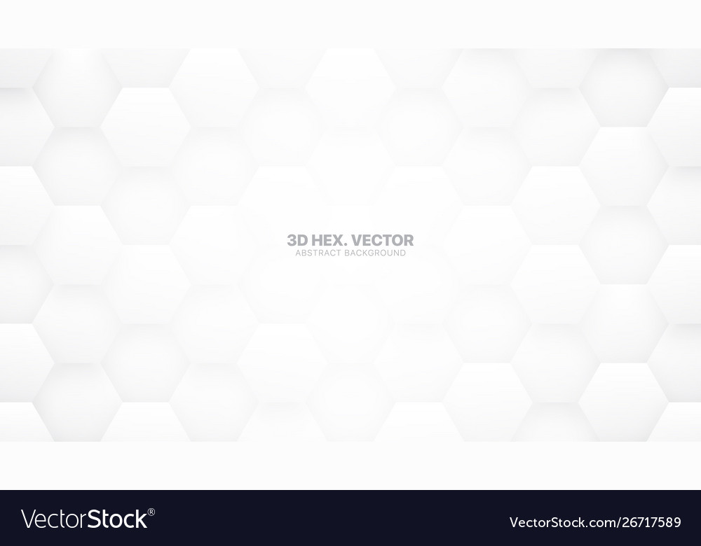 Technologic 3d hexagons white abstract background