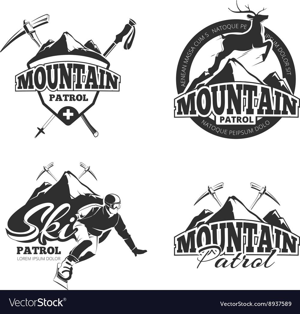 Vintage ski mountain patrol emblems labels vector image