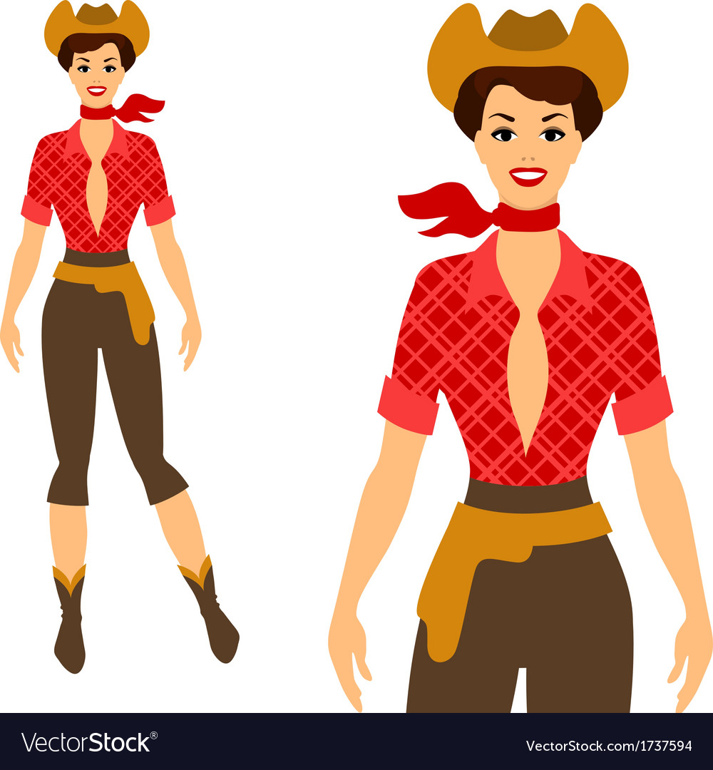 Beautiful pin up cowgirl 1950s style vector image