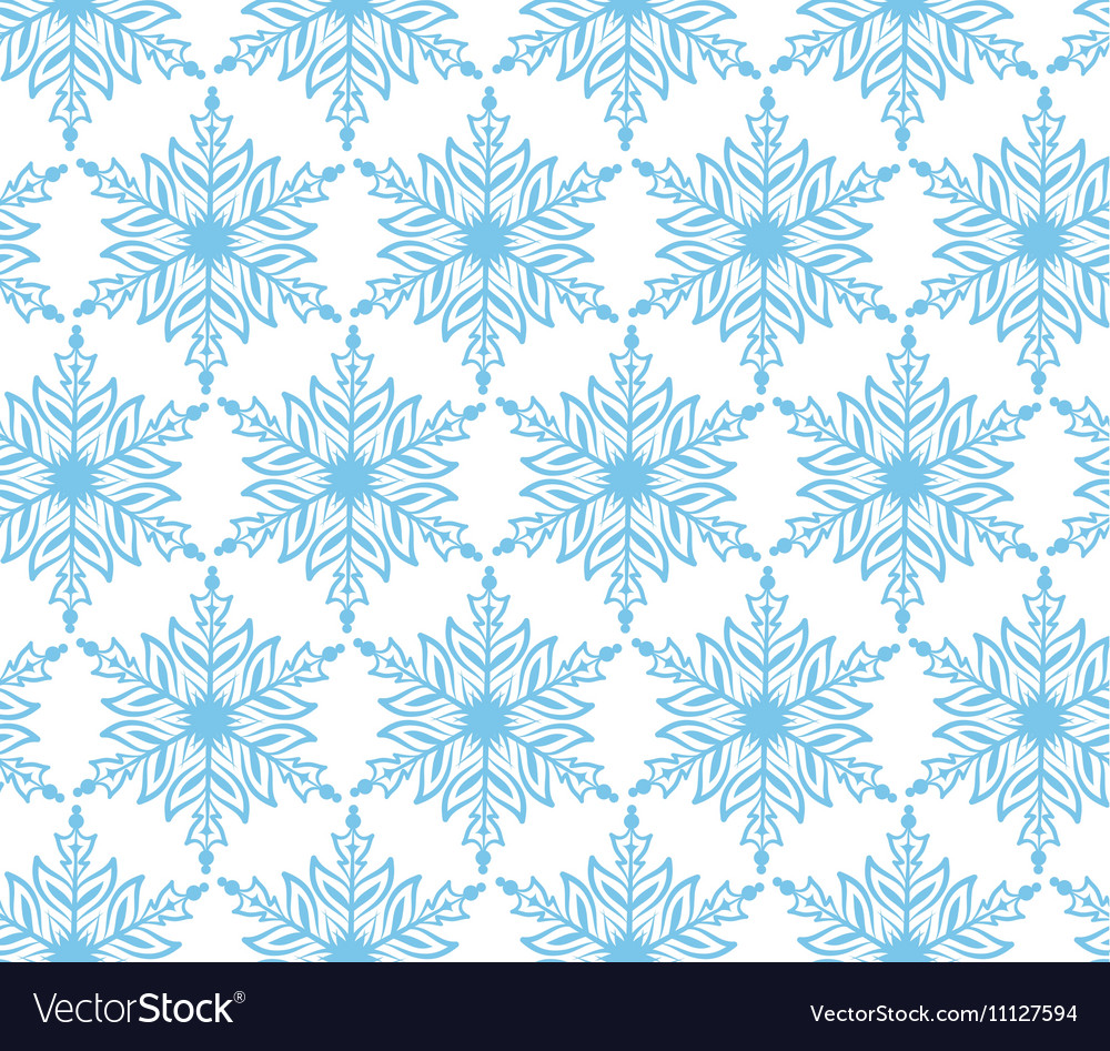 Blue snowflake Christmas seamless background vector image