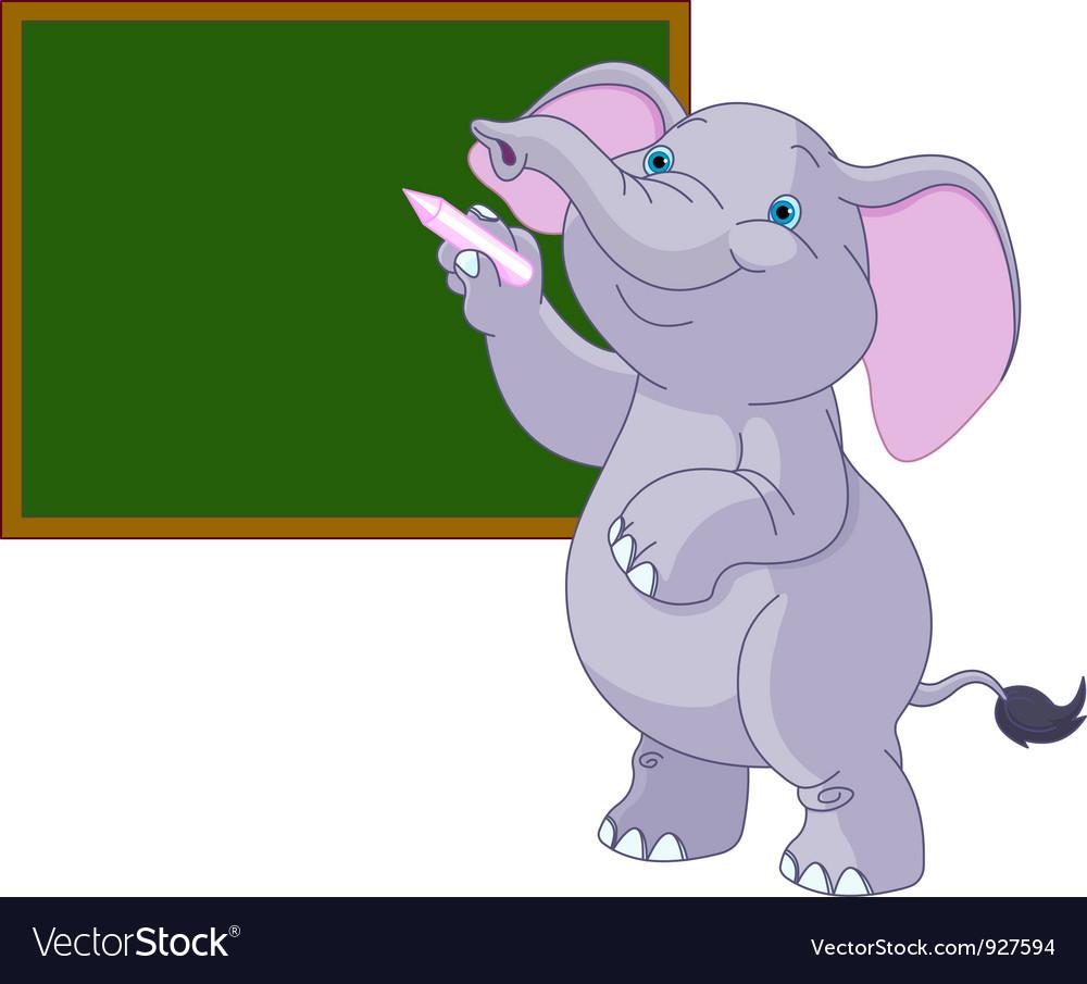 Elephant writing on blackboard
