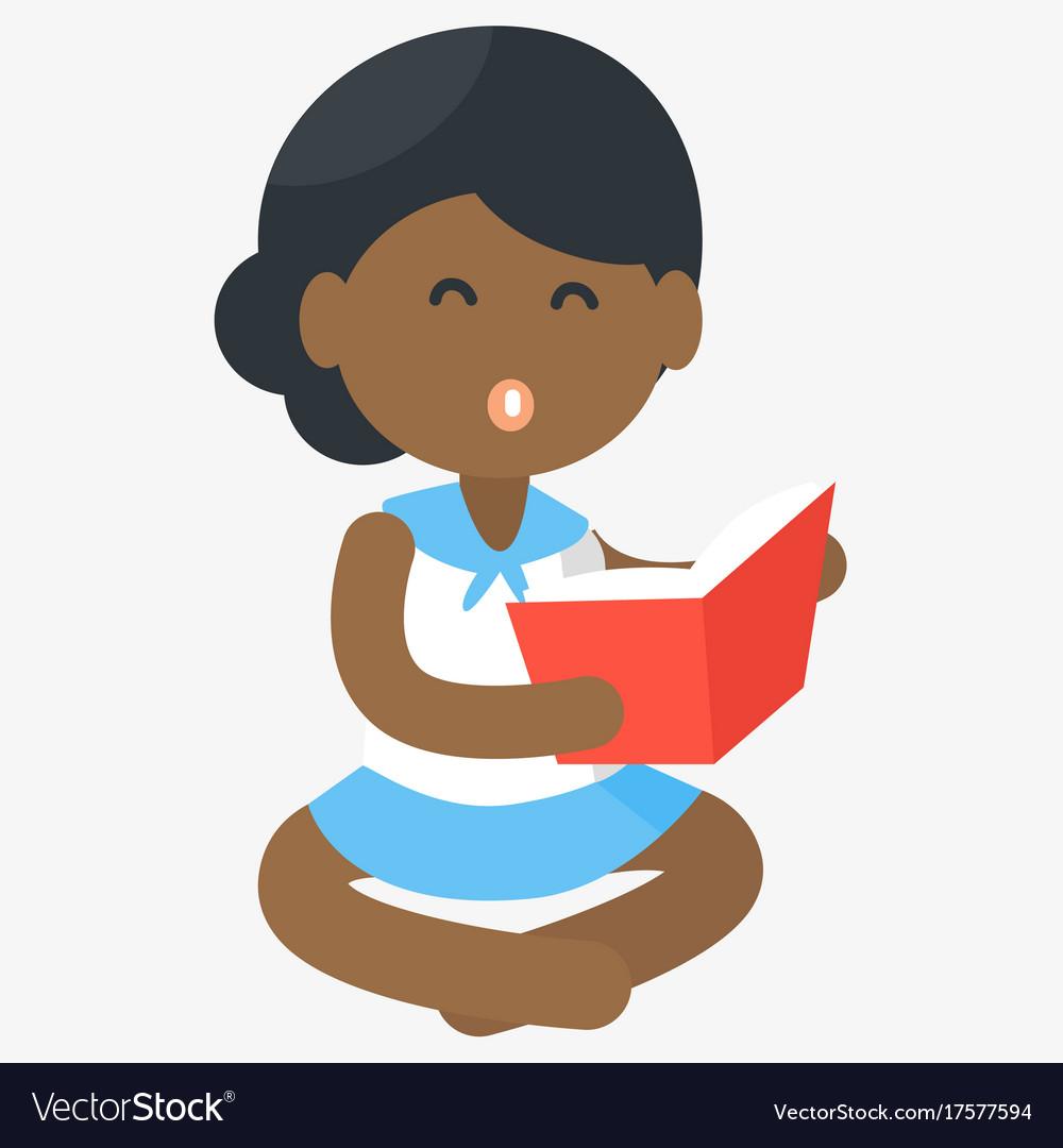 Happy african girl reading open book vector image