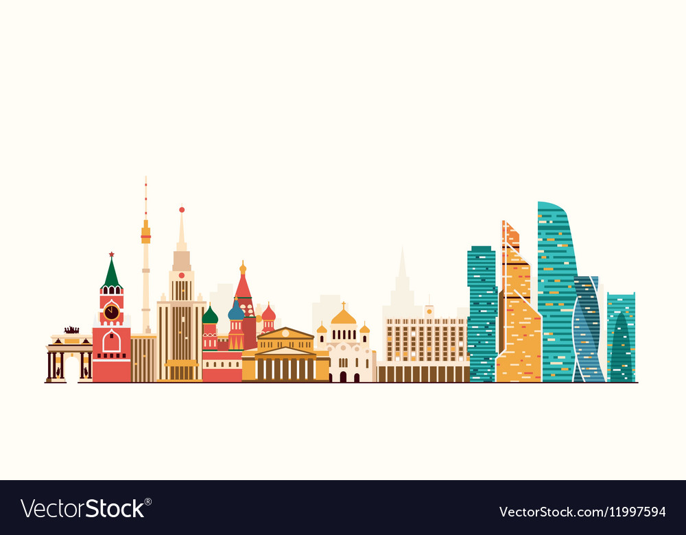 Moscow abstract skyline vector image