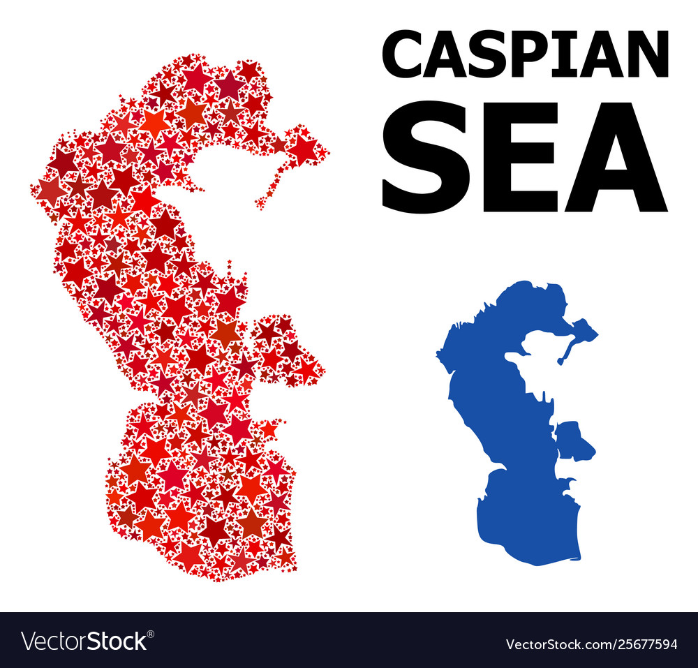 Red star pattern map caspian sea