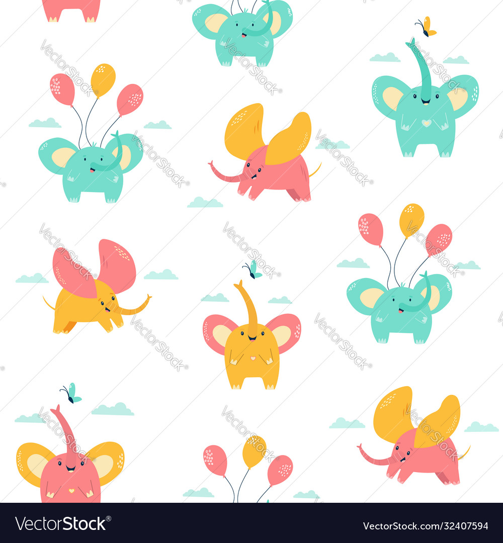 Seamless pattern with cute little elephants vector