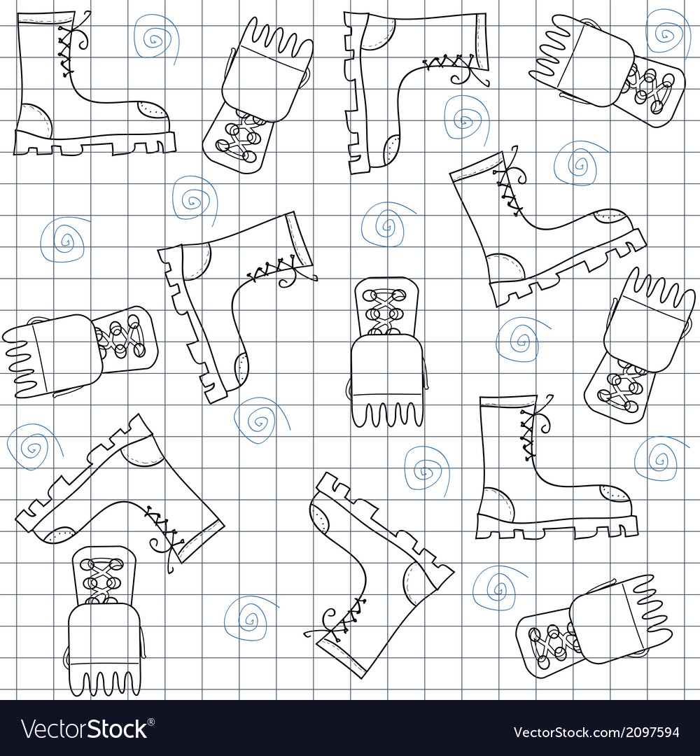 Seamless pattern with gumshoes High sneakers