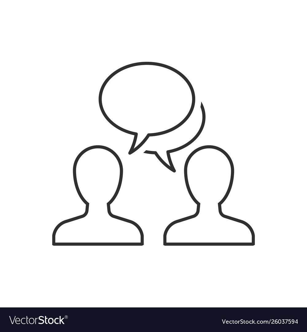 Speaking people outline icon on white background