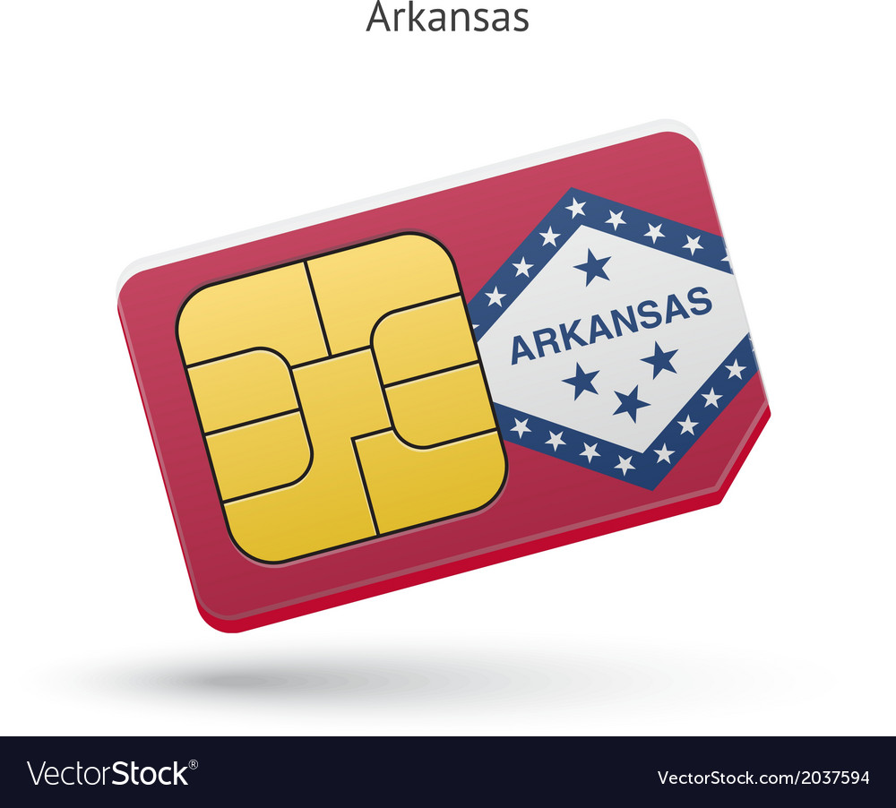 State of Arkansas phone sim card with flag