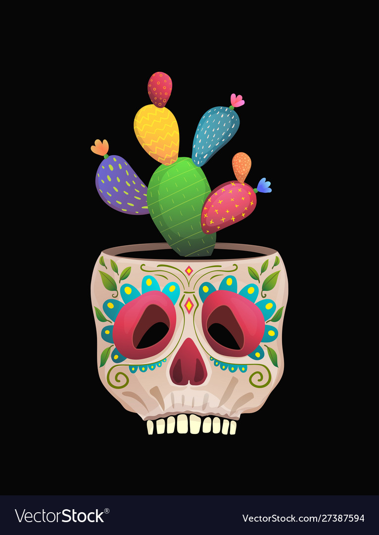 Sugar skull flower pot with cactus funny mexican