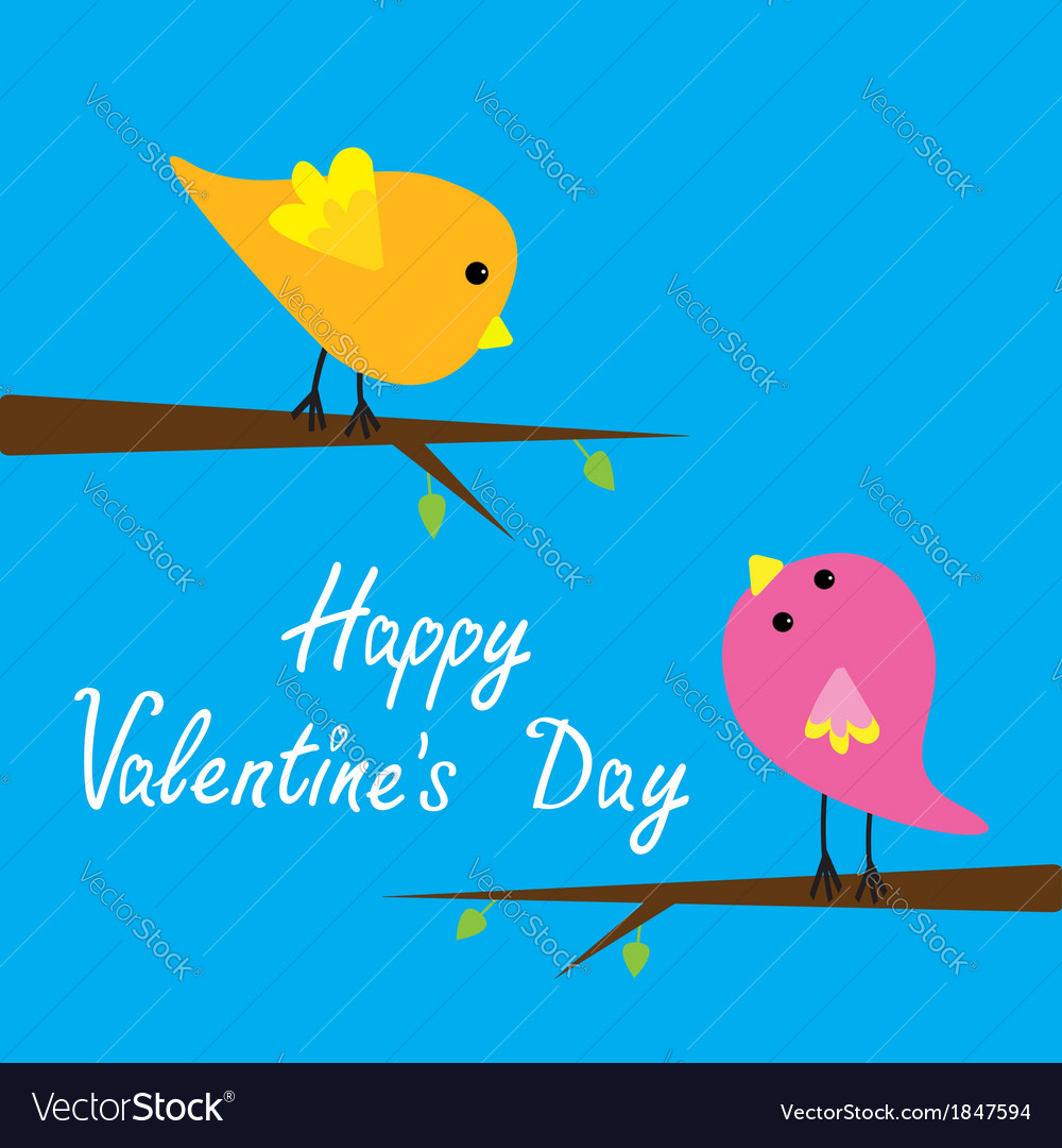 Two cartoon birds Happy Valentines Day card