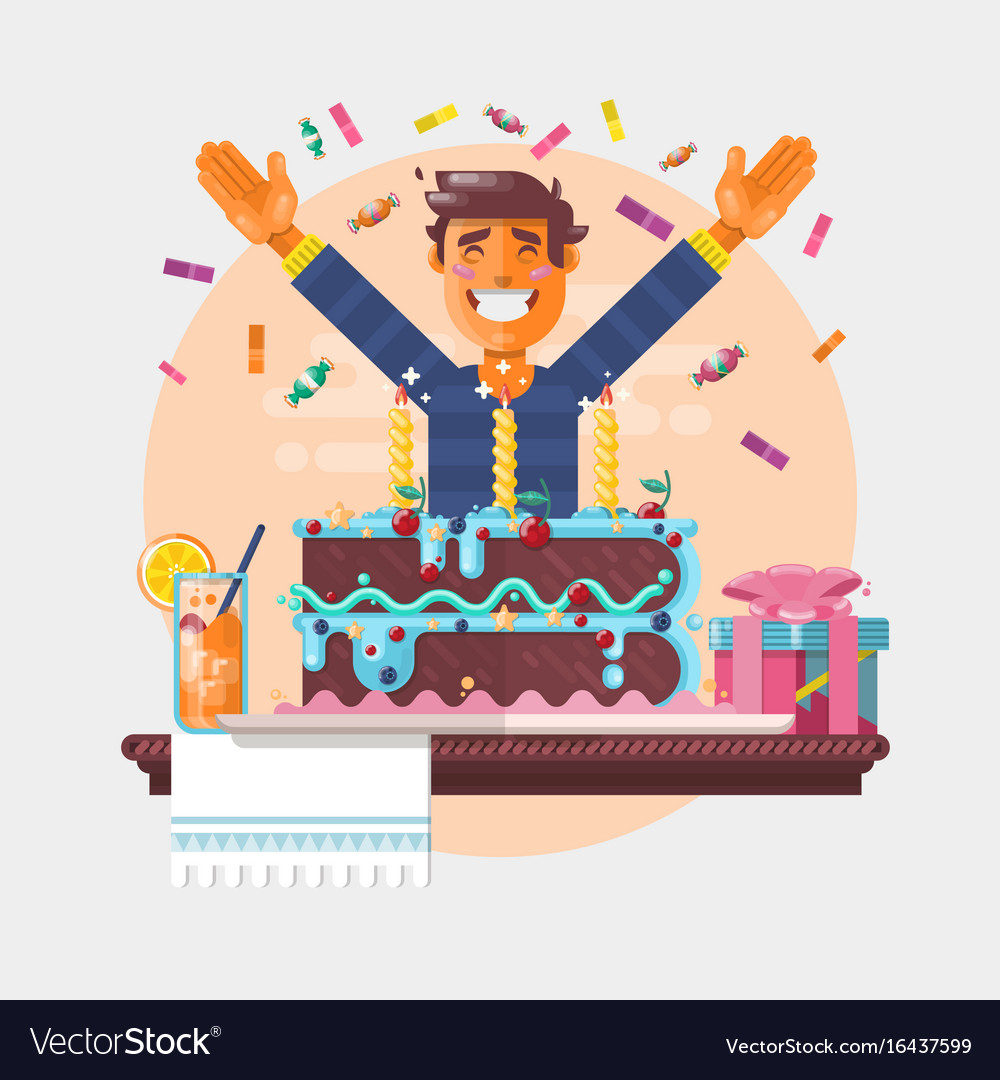 Boy with birthday cupcake children s birthday vector image