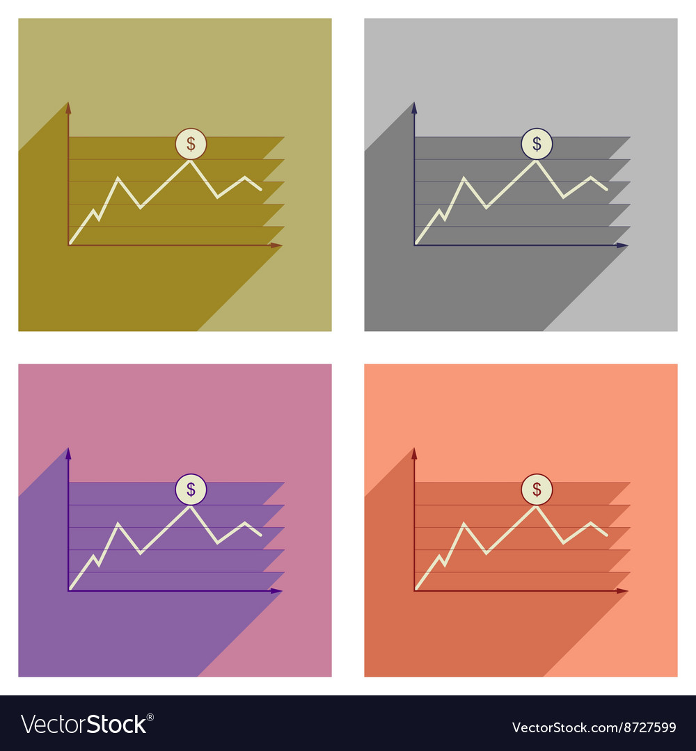Concept of flat icons with long shadow financial
