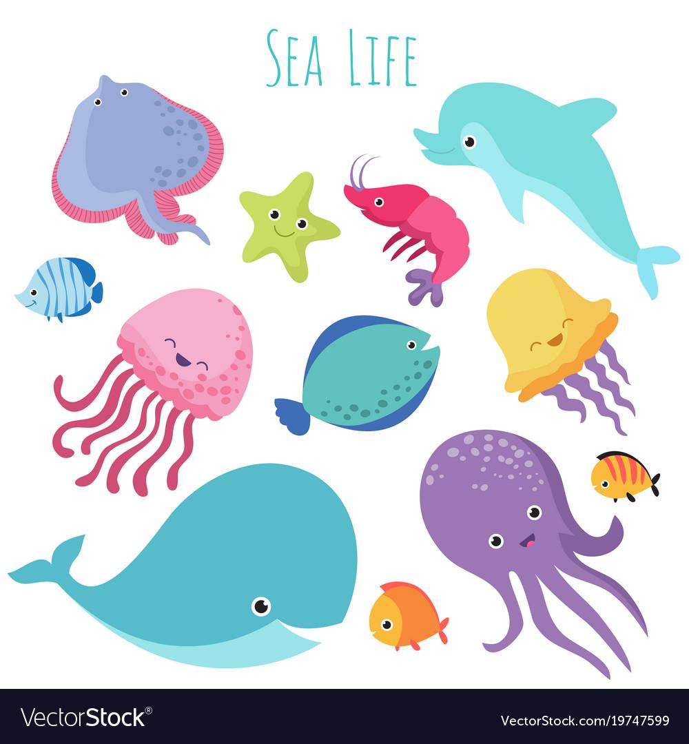 Cute baby sea fishes cartoon underwater