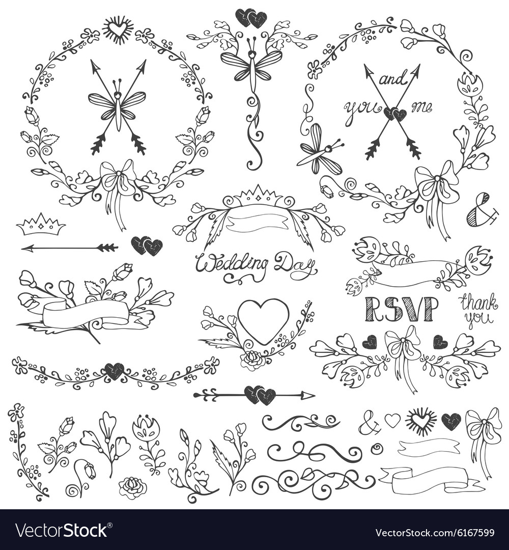 Doodles floral decor setBorderselementswreath