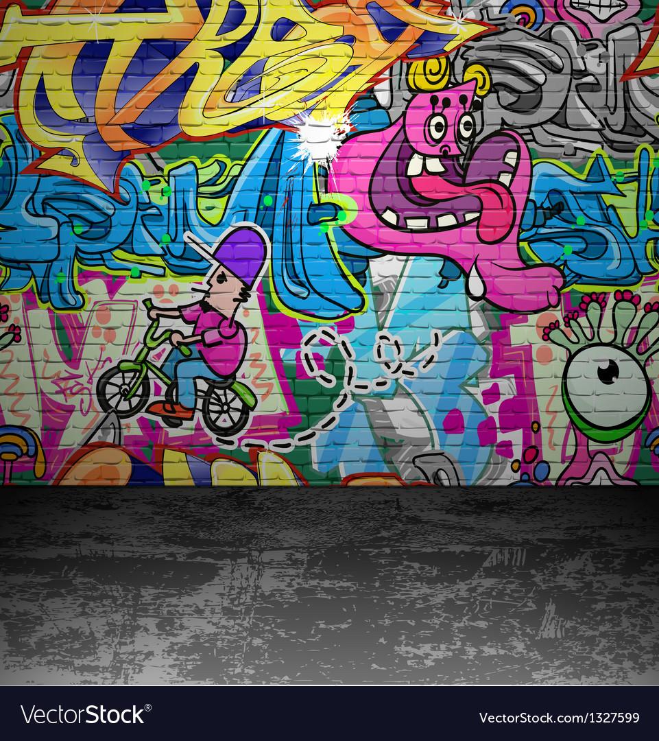 Extraordinaire Graffiti wall urban street art painting Royalty Free Vector FU-23