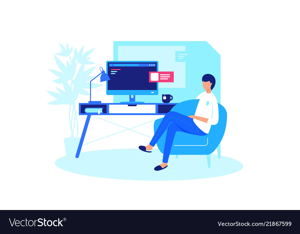 Man relaxes at home computer