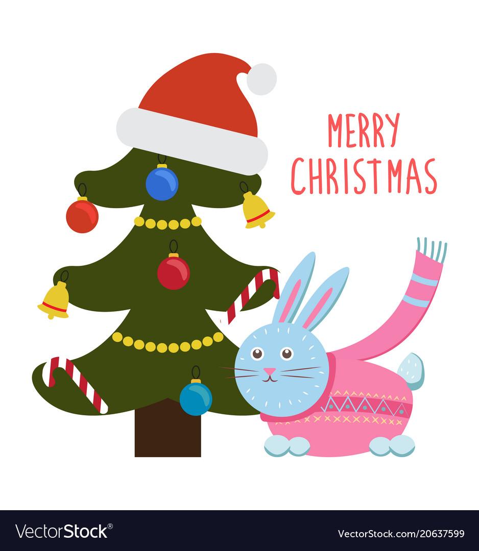 Merry Christmas Greetings Cartoon Hare Rabbit Tree