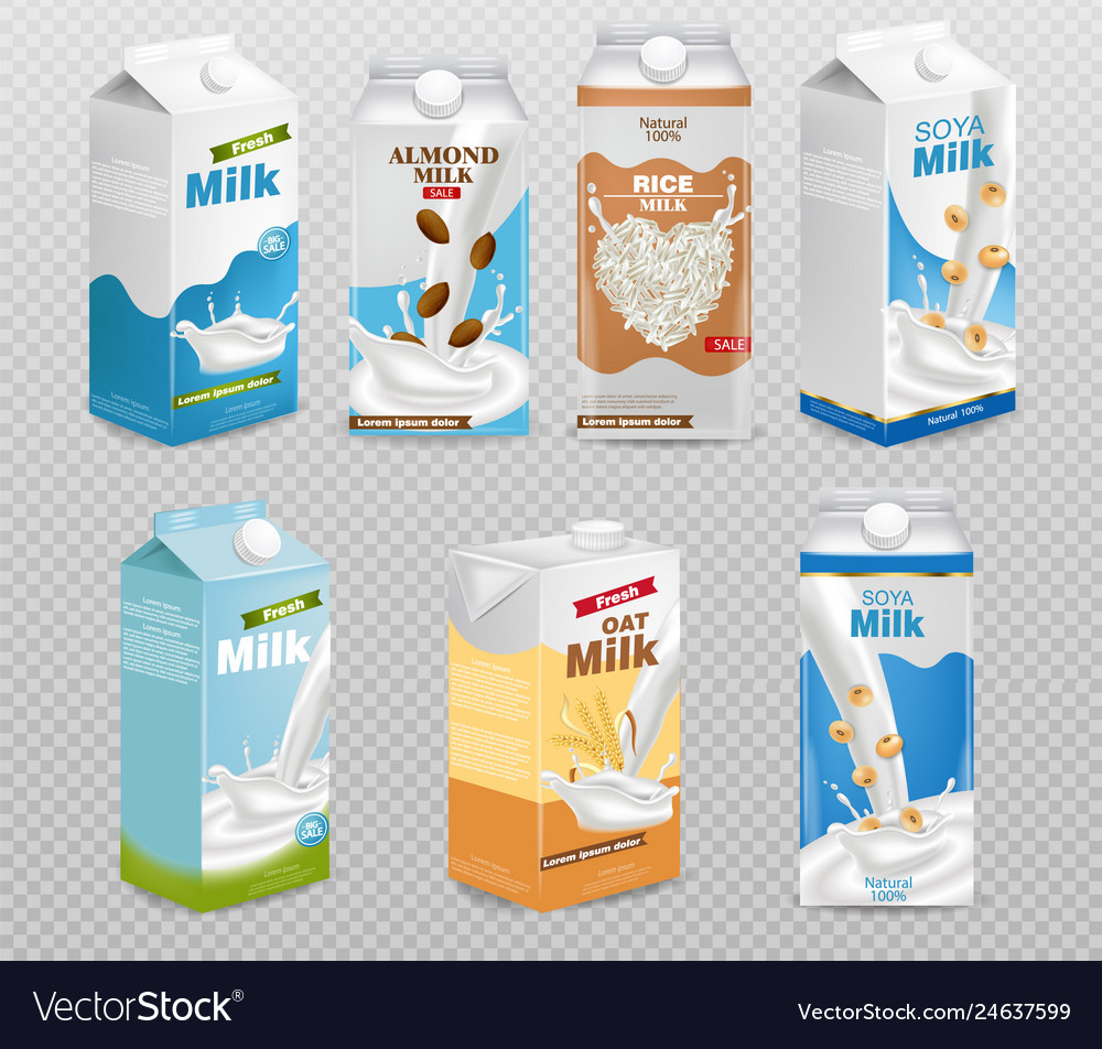 Milk boxes isolated on transparent background