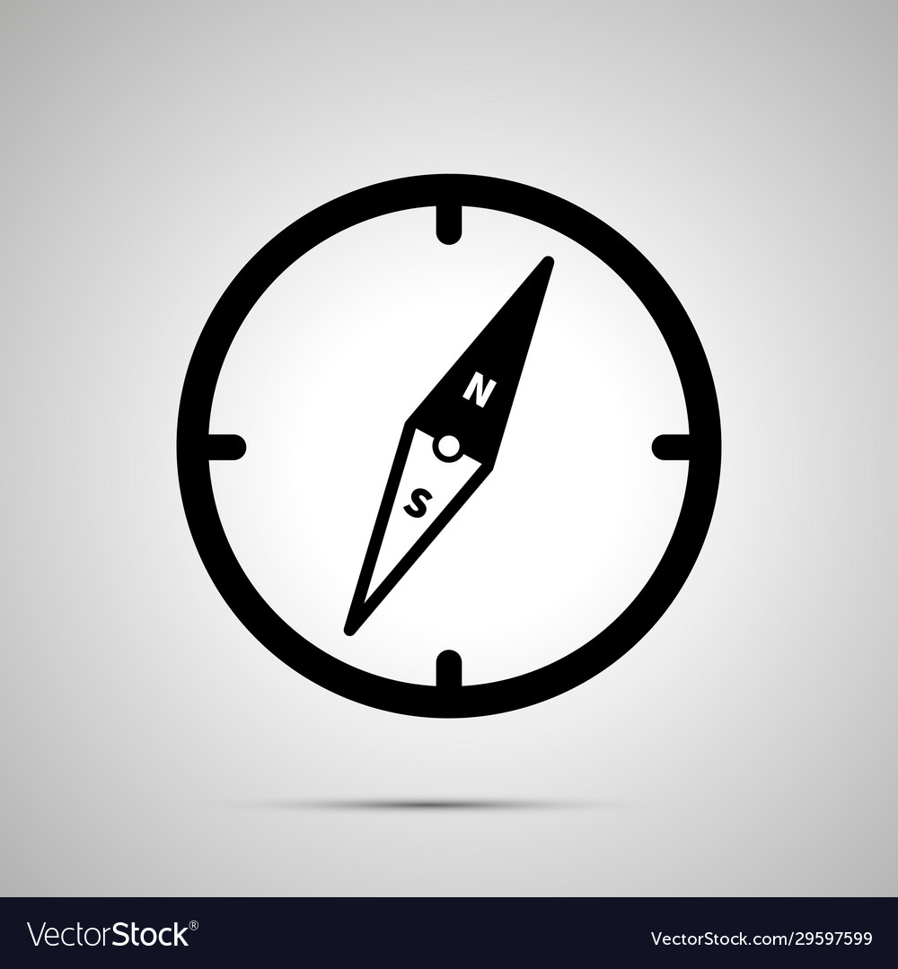 Old compass simple black icon with shadow on gray