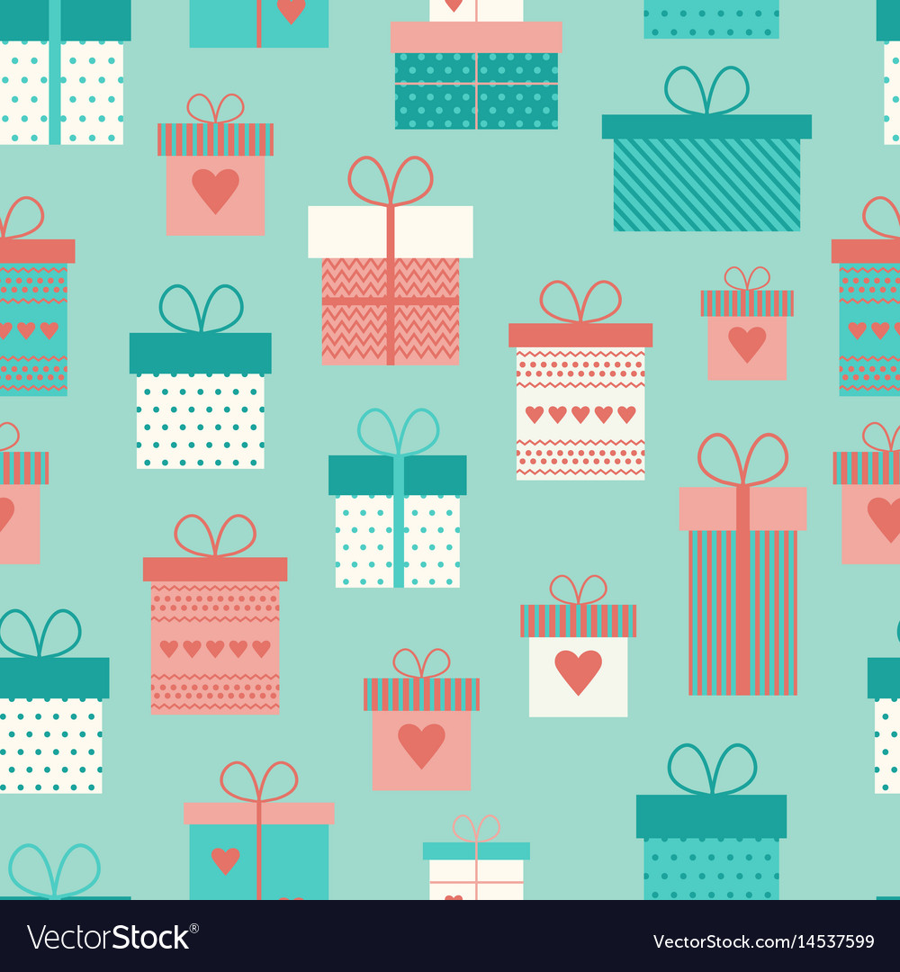 Seamless pattern with flat gift boxes
