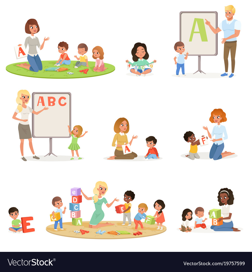 Set of children doing speech therapy with teachers
