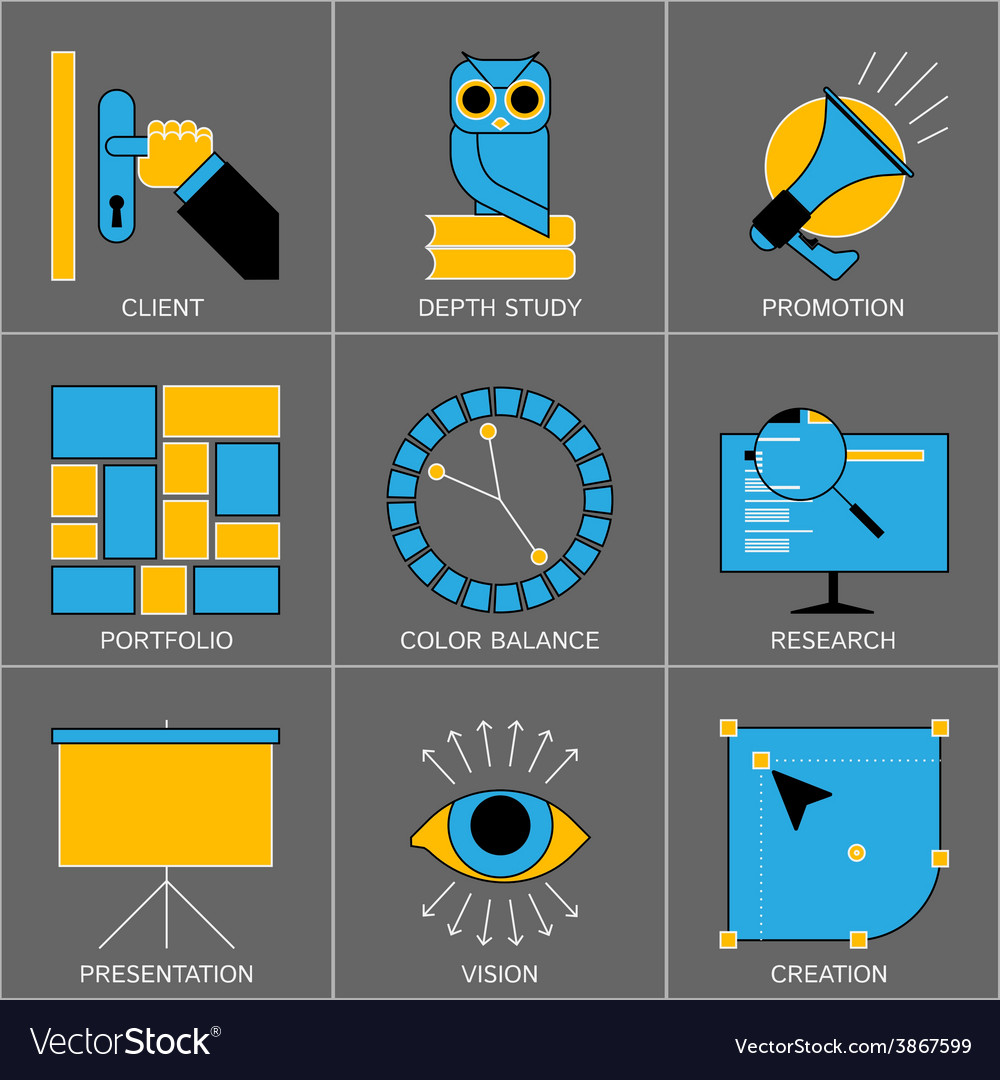 Set of Flat Line Design Icons for Digital vector image