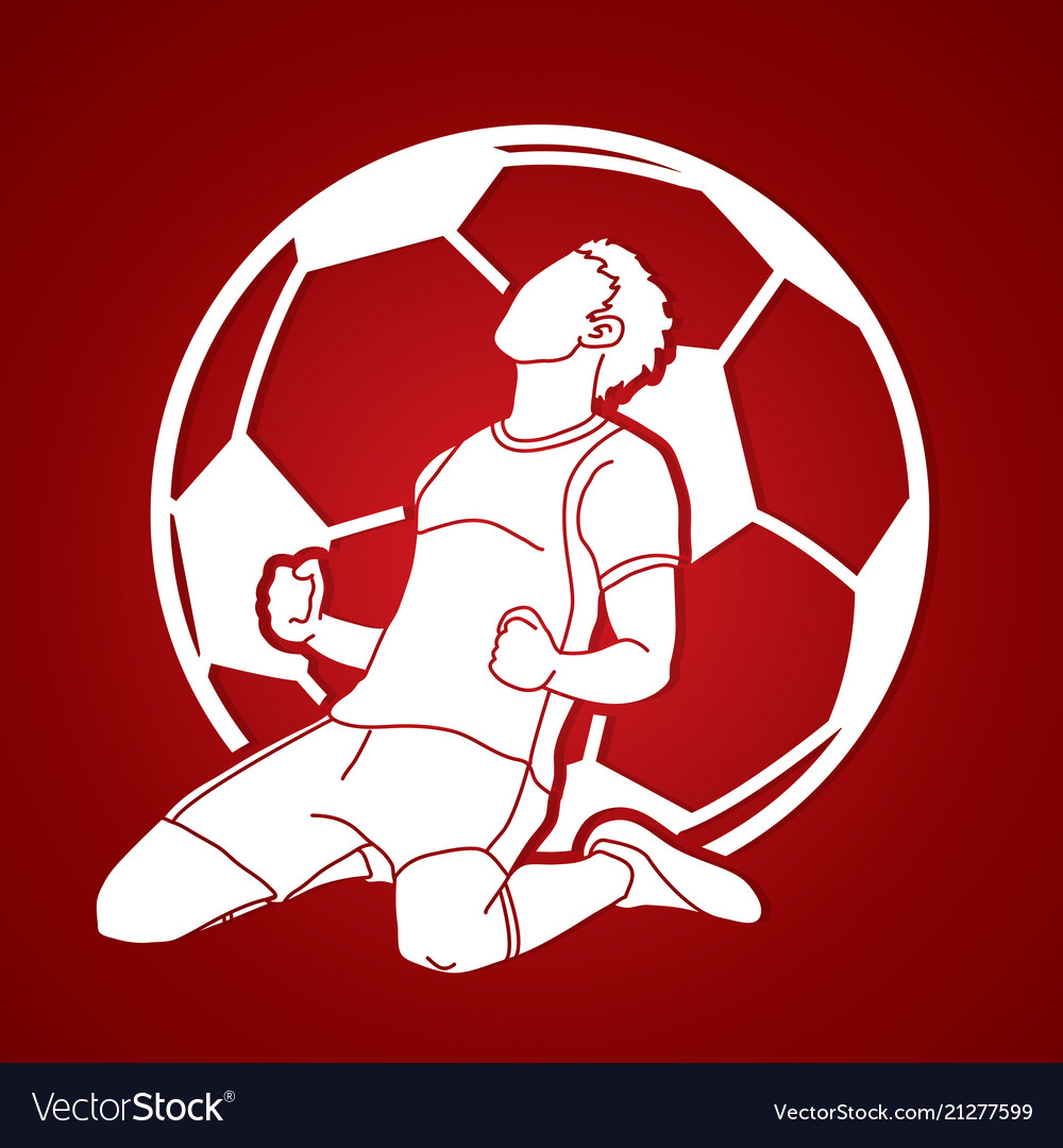 Soccer player the winner action graphic