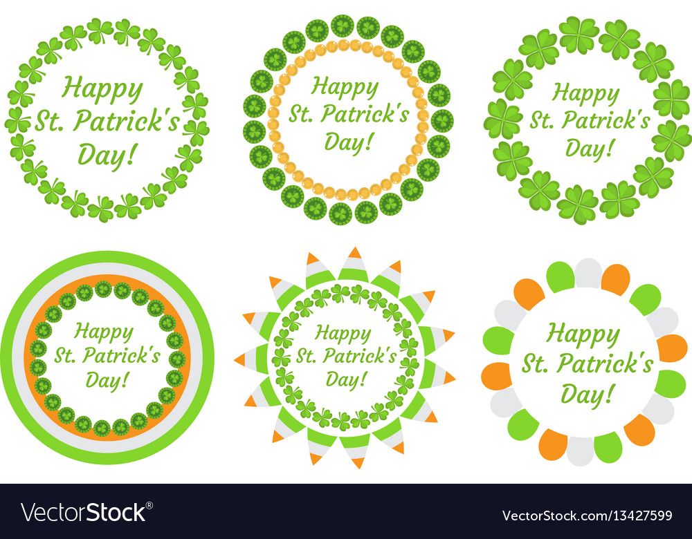 St patrick s day round frame with clover