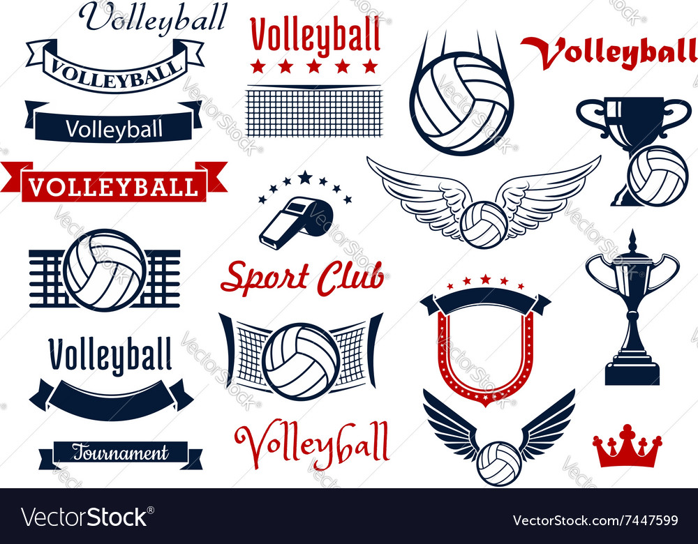 Volleyball game sports icons and symbols vector image