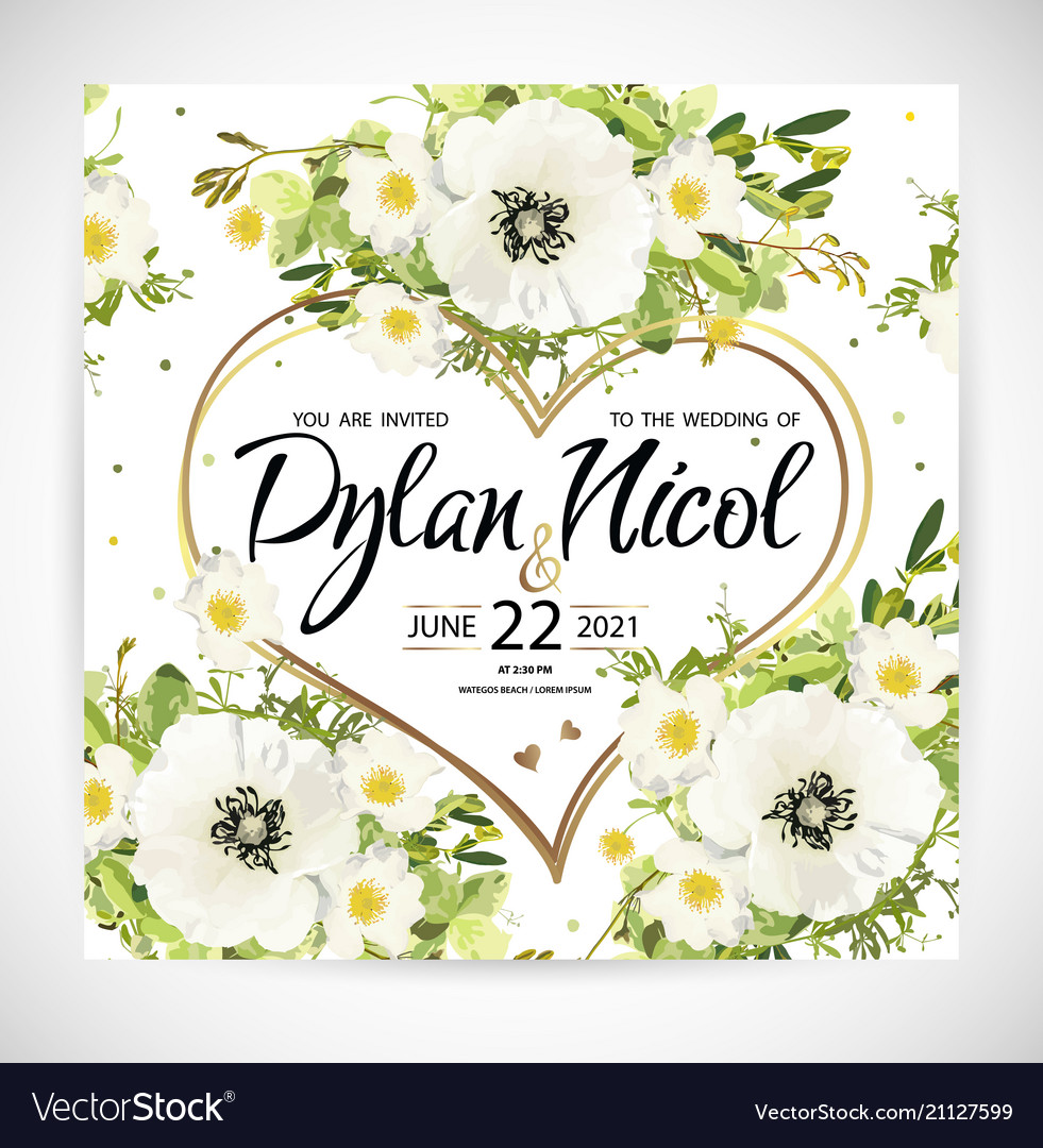 Wedding heart floral template invite Royalty Free Vector