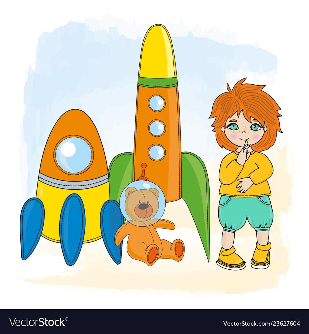 Boy space children dream game cartoon