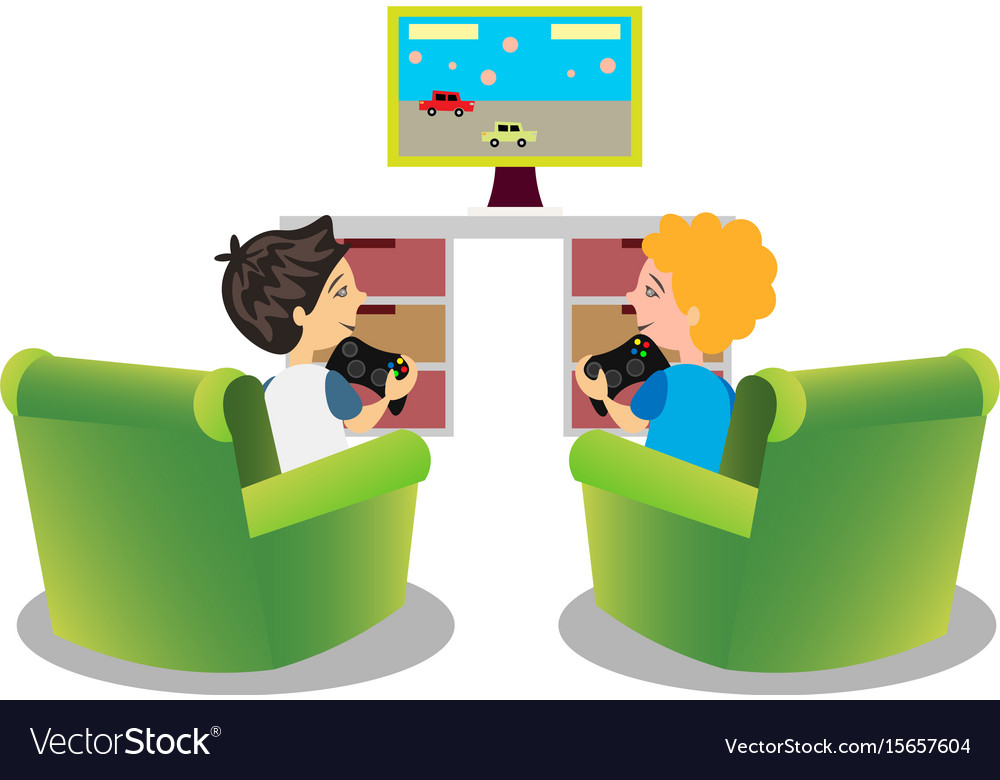 Cartoon Kids Playing Video Games Together Vector Image