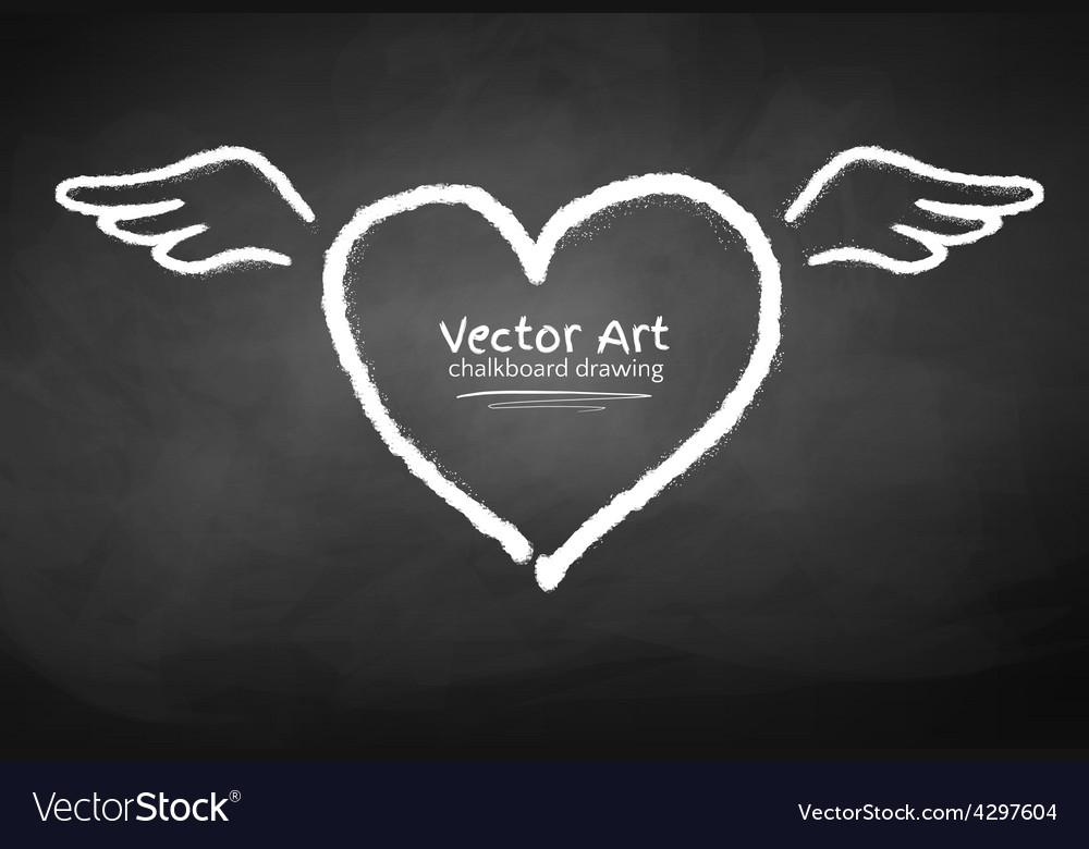 Chalk drawn heart vector image