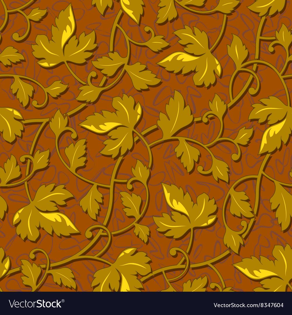 Contour autumn gold leaf seamless vector image