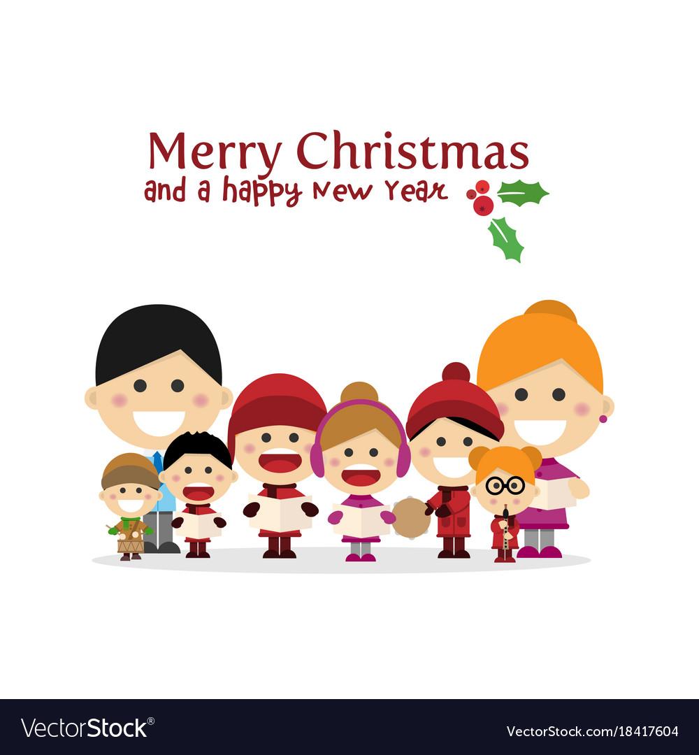Cute family singing carols at christmas night vector image