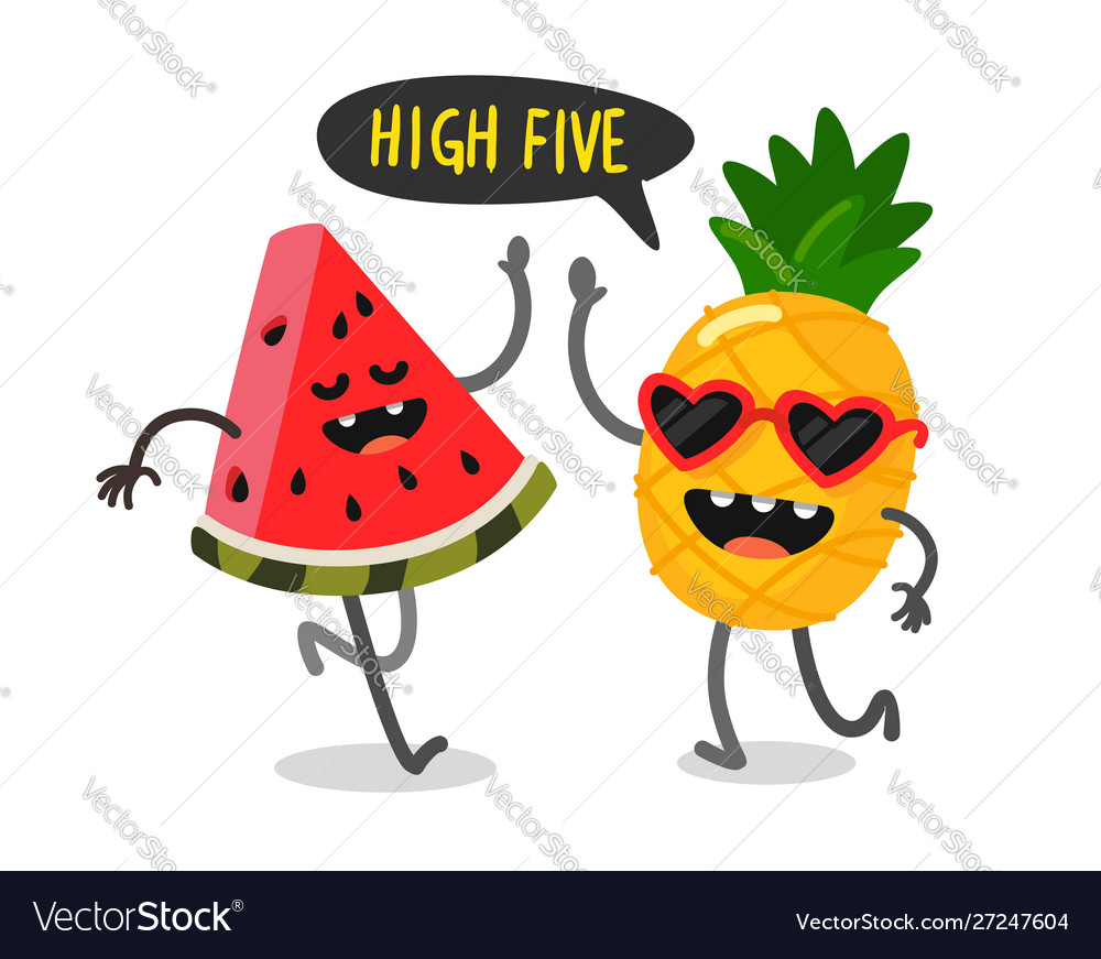 Cute fruit watermelon and pineapple