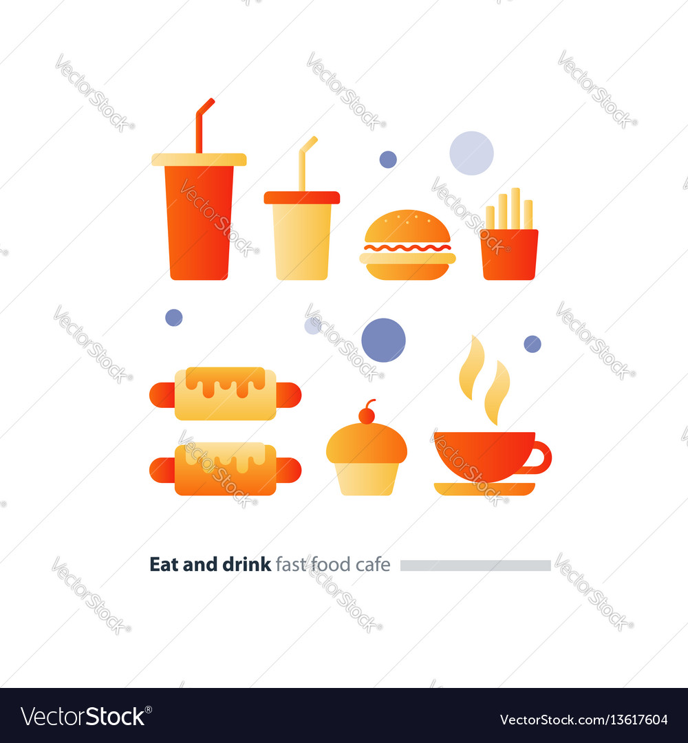 Eat and drink set of fast food flat icons cafe
